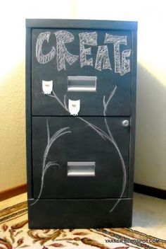 Chalkboard paint? Black would be too dark for our purpose (office), but another color might be good and fun!