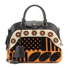 Burberry Prorsum Milverton Medium Velvet and Leather Bowling Bag