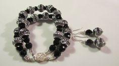 Special Occasion Silver and black bracelet set  by yasmi65 on Etsy, $17.00