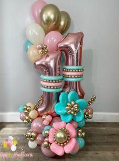 Birthday Balloon Decorations, Balloon Centerpieces, Birthday Balloons, Balloon Crafts, Balloon Gift, Baloon Garland, Cowboy Theme Party, Balloon Columns, Balloon Bouquet