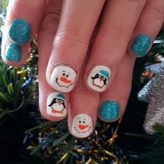 Snowman and penguin Christmas nails