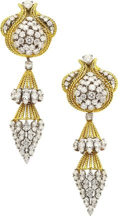 ANTIQUE DIAMOND AND GOLD EARRINGS