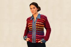 Knitted jacket, Burgundy wool jacket, Coloful knitted coat, Multicolor jacket