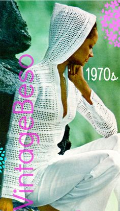 Vintage CROCHET PDF Pattern ❤️ Pattern in U.S.A. terms ♥¸.•`•¸.•*♥ INSTANT DOWNLOAD: download directly from your Etsy account, once payment is approved. TO MAKE: Retro 1970s Hooded Jacket --- Vintage 1970s Hooded Pullover Light Jacket - Summer evenings still have a light breeze and this