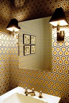 loving patterned wall paper (not this paper) for small spaces...powder bath perhaps?