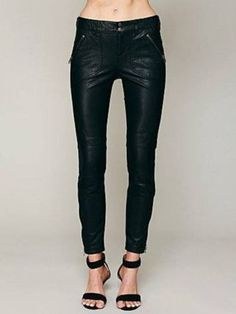 5baf59a08ef2e9 Free People NEW Keep It Rockin' Black Vegan Leather Cropped Skinny Jeans /  Pants Love