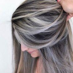 Ash Brown Hair Balayage, Brown Hair With Silver Highlights, Grey Blonde Hair, Ash Brown Hair Color, Brown Hair Going Grey, Silver Ash Hair, Medium Ash Brown Hair, Platinum Highlights, Brunette Highlights