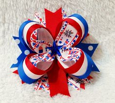 Boutique Stacked Hair Bow, Fourth of July