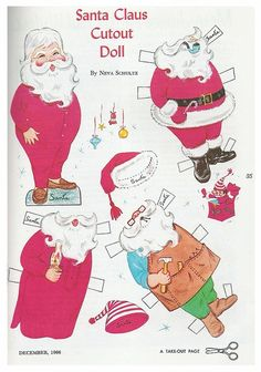 Vintage 1966 Paper Doll Santa Claus