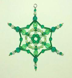 Snowflake Ornament - Suncatcher - Decoration - Emerald Green and Lime. via Etsy.
