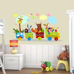 Παιδικά αυτοκόλλητα τοίχου, με τρένο και ζωάκια. Όμορφα οικολογικά χρώματα, χαμηλή τιμή. Ποιοτική διακόσμηση παιδικού δωματίου. Baby, Kids, Crafts, Craft Ideas, Young Children, Boys, Manualidades, Children, Baby Humor