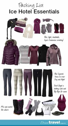 Staying at an Ice Hotel this winter? Here's a packing list of items you will need to get you through the night. holiday packing list Stay the Night or Just Explore The Quebec City Ice Hotel Tour Voyage Ski, Ski Trip Packing List, Packing Tips, Europe Packing, Traveling Europe, Backpacking Europe, Travelling, Snow Outfit, Outfit Invierno