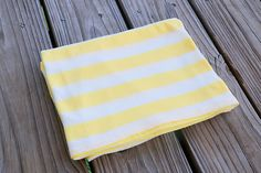 Good Morning Sunshine- Cotton Knit Swaddle Stretch Snuggle Baby Girl Blanket Yellow Lace Stripe Mint Chocolate Chip