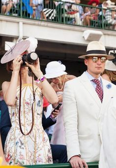 The Kentucky Derby at Churchill Downs on May 1 & 2015 in Louisville, Kentucky Kentucky Derby Fashion, Churchill Downs, Louisville Kentucky, Dressed To The Nines, Royal Ascot, Pink Hat, Butterfly Design, Hot, Cowboy Hats