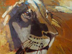 Lion Portrait 30 x 40 acrylic on canvas Lion Art, Glass Animals, Colored Glass, Lions, Original Art, Paintings, Traditional, Portrait, Digital