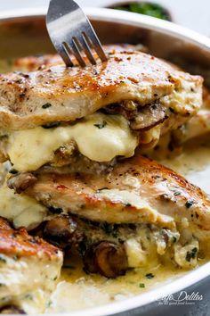 Cheesy Garlic Butter Mushroom Stuffed Chicken WITH an optional Creamy Garlic Par., Garlic Butter Mushroom Stuffed Chicken WITH an optional Creamy Garlic Parmesan Sauce! Garlic Mushroom lovers this is THE recipe of your dreams! Garlic Parmesan Sauce, Chicken Parmesan Recipes, Chicken Salad Recipes, Recipe Chicken, Stuffed Chicken Recipes, Chicken Meals, Soup Recipes, Cream Cheese Stuffed Chicken, Healthy Stuffed Chicken