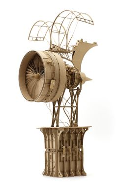 Imaginative Industrial Flying Machines Made From Cardboard by Daniel Agdag sculpture flying flight cardboard