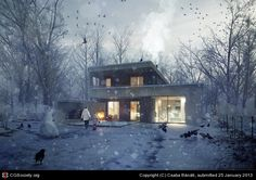 Photoshop brakdown of 'The Unbuilt House' by Hungarian based architectural visualization studio, ZOA. 3d Architectural Visualization, Architecture Visualization, 3d Visualization, Architectural Animation, Photoshop Rendering, Photoshop Video, 3d Rendering, Render Image, Image 3d