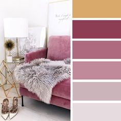 100 Color Inspiration Schemes : Gold + Gray + Mauve Color Palette #colorscheme #colors #palette