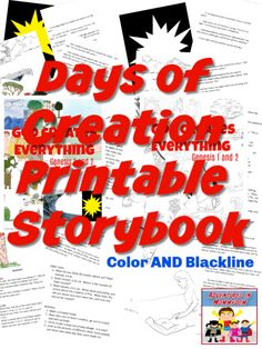 Days of Creation printable storybook in Color and Blackline #Biblelesson #SundaySchool #kidmin Sunday School Curriculum, Sunday School Activities, Sunday School Lessons, Sunday School Crafts, Family Bible Study, Days Of Creation, Understanding The Bible, How To Teach Kids, Bible Lessons For Kids