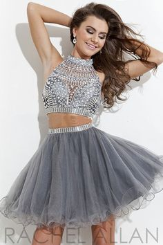 Hot Sale Silver Grey Beaded Short Tulle Two Piece Prom Dress 2014 US $155.00