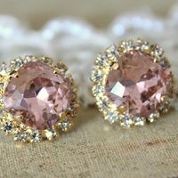 gasp ...Crystal stud big vintage pink earring - 14k plated gold post earrings real swarovski rhinestones .