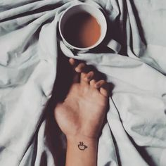 Minimalists tattoos Cute coffee-inspired tiny tattoo,