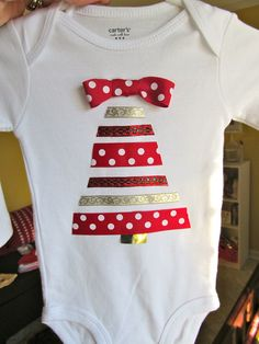 Christmas onesie made with ribbon