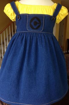 Despicable Me Minion Dress - Minion Inspired Dress Size 2, 3, 4, 5, 6, 7, 8 Jessica Inspired Boutique