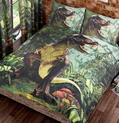 This T-Rex Dinosaurs Duvet Cover and Pillowcase Set is perfect for dinosaur fans! The stunning design features a photographic style image of a T-Rex deep in jungle undergrowth. Unique Duvet Covers, Double Duvet Covers, Bed Duvet Covers, Duvet Sets, Double Quilt, Dinosaur Bedding, Animal Print Bedding, Linen Company, Duvet Bedding
