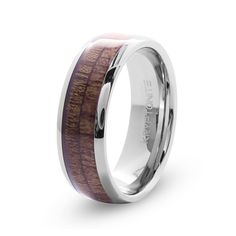 ents tungsten wedding band with dome top wood inlay