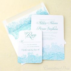 This lovely blue and white waves wedding invitation was created using imagery from an antique woodcut I found in an old book. Originally in black...