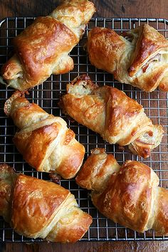 Prosciutto and Gruyére croissants #recipe by alexandracooks.  This is one of my favorite meat/cheese pairing; paired with buttery pastry it looks unbeatable.