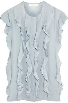 Chloé Ruffled washed-silk blouse | THE OUTNET