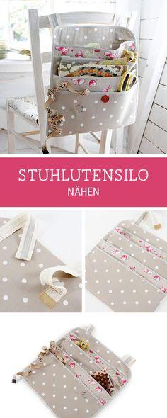 Ideen für mehr Ordnung: Utensilo nähen, dass man an den Stuhl hängen kann, Stuhlutensilo / diy storage idea: sewing pattern for an utensilo via DaWanda.com