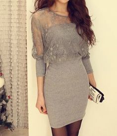Buy Gray Cotton and Lace Womens Bat Sleeves Sexy Dress at Wish - Shopping Made Fun Cheap Dresses, Sexy Dresses, Casual Dresses, Lace Outfit, Lace Dress, One Piece Dress, Summer Dresses For Women, Pretty Dresses, Dress To Impress