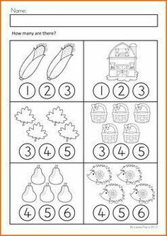 Autumn / Fall Math Worksheets & Activities No Prep Numbers Preschool, Learning Numbers, Preschool Learning, Kindergarten Worksheets, Teaching Math, Preschool Activities, Math Numbers, Math For Kids, Fun Math