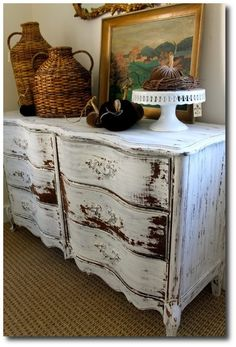 Miss Mustard Seed Milk Paint Ironstone- French Provincial dresser at D'Bohemia