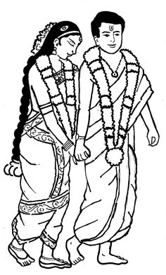 Tamil Cliparts: Printing Line art - 3 ( Wedding and invitations ) Outline Drawings, Art Drawings Sketches Simple, Pencil Art Drawings, Wedding Drawing, Wedding Painting, Couple Sketch, Cute Couple Drawings, Pencil Sketch Images, Wedding Symbols