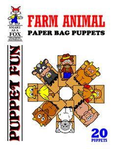 Farm Animal Paper Bag Puppets by Dwayne Kohn Rainforest Animals, Farm Animals, Farm Songs, Paper Bag Puppets, Puppet Patterns, Thematic Units, Animal Activities, Animal Masks, Chimpanzee