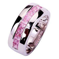 新しい女性眩しいピンク&ホワイトcreatedトパーズシックなファッション925シルバーリングサイズ6 7 8 9 10 11 12愛らしいジュエリー用女性