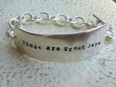 These are great days Stamped Knife Blade Bracelet in silver. $32.00, via Etsy.