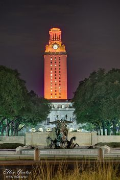 University of Texas Tower: Austin. It's only lit orange when one of the teams has won a game. :) We love it! | hatcreekburgers.com