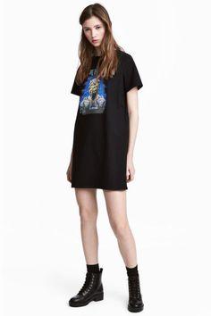 Motifli Tişört Elbise - Siyah/Iron Maiden - Ladies | H&M TR