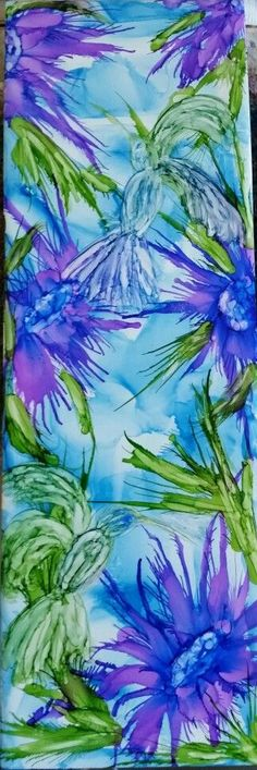 Illusion birds with flowers. Flower in alcohol ink by tina: