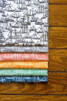 handprinted Boat fabric