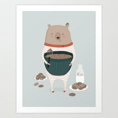 So cute for a kid's room. Maxwell's Midnight Snack print by Ez Pudewa