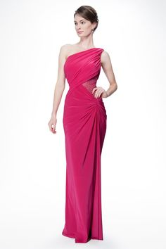 One Shoulder Draped Jersey and Sequin Gown in Hot Pink - Evening Gowns - Evening Shop Pink Prom Dresses, Formal Dresses, Pink Evening Gowns, Red Carpet Gowns, Sequin Gown, Tadashi Shoji, Beautiful Gowns, Wedding Gowns, Hot Pink