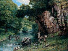 Gustave Courbet, French (1819–1877)  Roe Deer at a Stream  1868  Oil on canvas