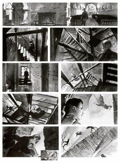 Storyboards from Vertigo ~ black and white water color is so fantastic! what an artistic storyboard!